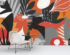 Tropicana mural by Level Digital Wallcoverings. Healthcare, hospitality, corporate, and retail spaces. Wall Design, Design Art, Futurism Art, Wall Stencil Patterns, Bedroom Murals, Wall Drawing, Mural Wall Art, Grafik Design, Cool Walls