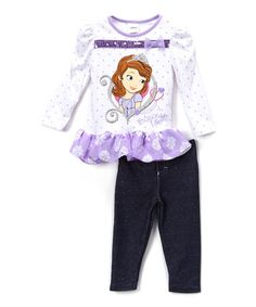 Love this Purple Sofia the First 'Princess Life' Tunic & Leggings - Toddler on #zulily! #zulilyfinds