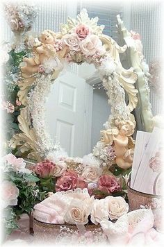 Shabby #pink #wreath #romantic #chic