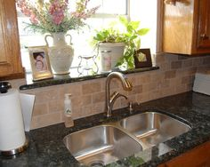 Window sill to match countertop - waterproof - nice touch.    Kitchen Window Sills Design, Pictures, Remodel, Decor and Ideas