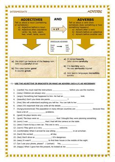 Adjectives and adverbs worksheet - Free ESL printable worksheets made by teachers English Teaching Materials, Teaching English Grammar, English Grammar Worksheets, English Vocabulary, Teaching Spanish, Grammar Quiz, Grammar Practice, Grammar Lessons, English Lessons