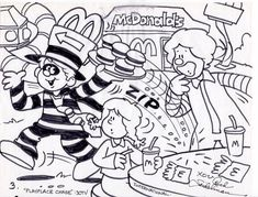 """One of ad agency art director Rich Seidelman's cartoon storyboard drawings for the 1996 International commercial """"PLAYPLACE CHASE"""". with Ronald McDonald and Hamburglar in McDonaldland. Storyboard Drawing, Mcdonalds Toys, Dope Cartoons, Hamburgers, Art Director, Adult Coloring Pages, Ronald Mcdonald, Pop Culture, Commercial"""