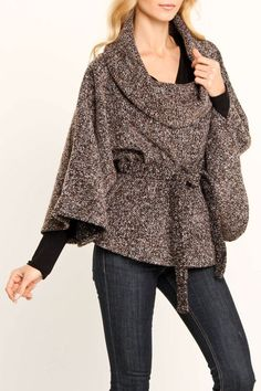 Cowl Neck Cape with a black long sleeved sweater and jeans.  Cute and warm.  Don't you need this in your wardrobe?