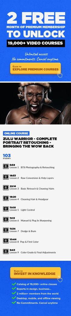 """Zulu Warrior - Complete Portrait Retouching - Bringing The Wow Back  Photography, Digital Photography, Adobe Photoshop, Photo Retouching, Editing, Creative, Photo Editing #onlinecourses #thingstolearning #CoursesCollege    BRINGING THE WOW LOOK BACK TO YOUR IMAGES - SUPER EASY 2+ Hours of retouching lessons """"Anyone can do it"""" All Lessons include step by step in video instructions! No Prior Photosh..."""