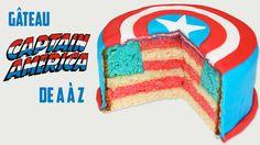 Gâteau Captain America avec le drapeau américain représenté lorsqu'on le découpe!  #gateau #captainamerica