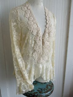 70s Ecru Lace Blouse Crocheted Collar Ruffle by SweetRepeatVintage