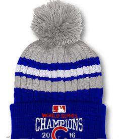 68e75b294509c Chicago Cubs World Series Champions Blue   Gray Pom Beanie