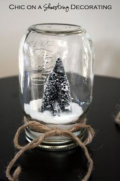 Kids Craft: Dollar Store Waterless Snow Globes by Chic on a Shoestring Decorating blog