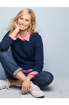 Mixed-Stitched Sweater and flawless five pocket boot cut, straight or boyfriend jeans. Talbots