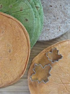 Autumn Leaves Made from Tortillas.  Fall leaf shaped tortillas to serve with dips or use for decoration.