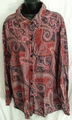 Jennifer George Sketchbook blouse Plus size 3X paisley purples/reds Rayon #George #Blouse #Casual