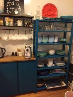 Stylish Ikea Ivar kitchen storage unit in blue.