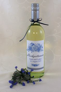 """Hochzeitswein-Etikett """"Fleur"""" Vodka Bottle, Drinks, Wine, Drinking, Drink, Cocktails"""