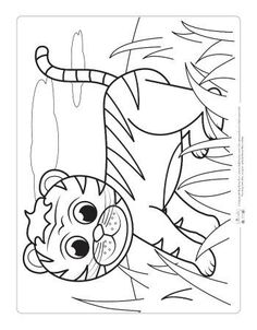 Safari and Jungle Animals Coloring Pages for Kids - Itsy Bitsy Fun Zoo Animal Coloring Pages, Preschool Coloring Pages, Cat Coloring Page, Coloring Book Pages, Coloring Sheets, Coloring Pictures For Kids, Coloring Pages For Kids, Basic Drawing For Kids, Cartoon Tiger