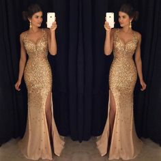 Slit dress prom - Sexy Long Crystal Beaded Prom Dress With Slit Mermaid Prom Dresses Evening Gown 125 from Fashiondressess – Slit dress prom Backless Mermaid Prom Dresses, Split Prom Dresses, Beaded Prom Dress, Mermaid Evening Dresses, Prom Party Dresses, Formal Evening Dresses, Formal Prom, Dress Formal, Formal Wear