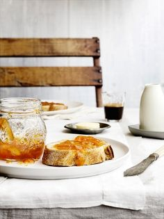 My kind of breakfast, fresh squeezed orange juice, a good cup of French pressed coffee, quality bakers butter, straight from the bakery bread toasted with guava jelly. Throw in some yummy fruit .