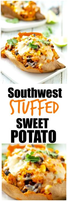 Southwest Stuffed Sweet Potato Recipe. healthy gluten-free vegetarian main course dinner idea