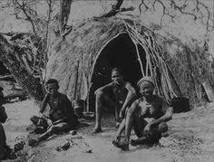 Una tipica capanna di Boscimani costruita con erba e sterpi tenuti insieme da funi. Fotografia storica.