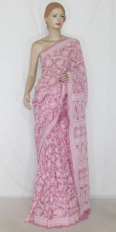 Onion Color Allover Hand Embroidered & Mukaish Work Lucknowi Chikankari Saree (With Blouse - Georgette) 14364 , Buy Georgette Chikankari Sarees online, Pure Georgette Chikankari Sarees, Trendy Georgette Chikankari Sarees ,Wedding Collection , online shopping india, sarees , sweets, cameras, shoes, watches, appliances, apparel, sweets online in india | www.maanacreation.com