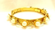 Vintage Faux Pearl Bangle by Frierich by bitzofglitz4u on Etsy, $35.00