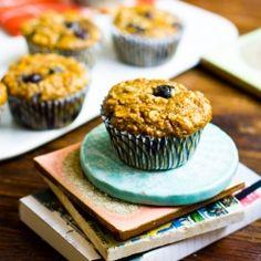 Pumpkin Chai Spice Oatmeal Blueberry Muffins.