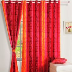 Swayam Premium Printed Red And Pink Blackout Curtain - Make a splash at home with fabulous curtains and other home accents like this blackout curtain. This printed beauty comes in pink and red and has a delightful contemporary pattern.