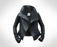 Womens Black Leather Biker Jacket by JOD UK 10 by ...