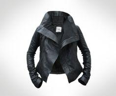 Womens Black Leather Biker Jacket by JOD UK 10 by ...