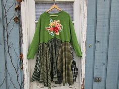 Plus Size Green Plaid Flannel Bohemian Embroidered by emmevielle