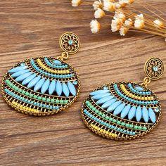 Colorful Ethnic Boho Bohemian Earrings Round Temperament Joker Indian Earrings For Women Jewelry 8669