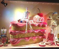 "HARVEY NICHOLS, Hong Kong, ""Let me tell you Julia, a party without cake is just a meeting"", pinned by Ton van der Veer Window Display Design, Store Window Displays, Retail Windows, Store Windows, Showroom Design, Visual Merchandising, Custom Windows, Visual Display, Life Design"