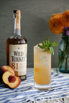 A Bird in the Shrub // 2 parts Wild Turkey 81, .75 part Peach-Mint Shrub, 1.5 parts Grapefruit Juice, .25 part Simple Syrup, Soda to taste. Build ingredients over ice and garnish with Mint Sprig!
