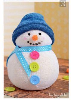 No-Sew Sock Snowman Craft - Kids Crafts - Christmas Crafts - Easy Peasy and Fun Kids Crafts, Sock Crafts, Crafts For Seniors, Winter Crafts For Kids, Crafts For Kids To Make, Christmas Crafts For Kids, Toddler Crafts, Christmas Fun, Holiday Crafts