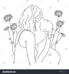 People hugs with love. Couple background for texture. Couple Drawings, Love Drawings, Colorful Drawings, Easy Drawings, Drawing Sketches, Sketchbook Drawings, Abstract Drawings, Sunflower Drawing, Outline Art