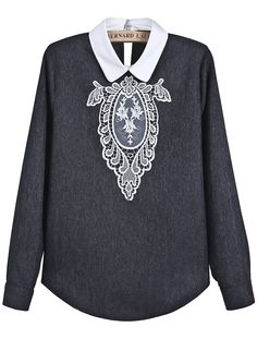 Grey Contrast Collar Long Sleeve Lace Vintage Blouse - Sheinside.com