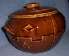 Vtg RARE very old BEAN POT COOKIE JAR brown pottery USA old early mccoy