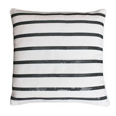 Aileen Black and White Striped Pillow - 18 in.