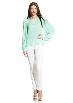 BCBGMAXAZRIA Long Sleeve Top- great look for summer nights