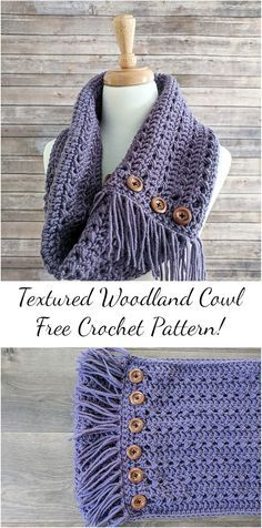 [Free Pattern] Textured Woodland Crochet Cowl! This adorable crochet pattern you can follow by ...