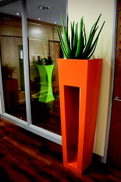 Bright combination of different style planters matched well with glass, natural walls and wooden flooring