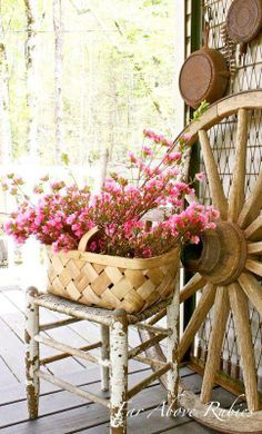 spring. PORCH DECORATED WITH THE PASTEL COLORS OF SPRING