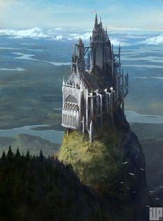 Cliff castle Alexander Forssberg Fantasy concept art Fantasy landscape Fantasy castle