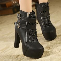 Wholesale Club High Heel and Buckles Design Women's Black Short Boots Only $13.61 Drop Shipping | TrendsGal.com