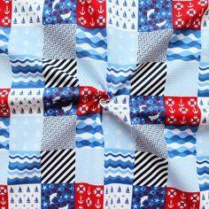 100% Baumwollstoff  Maritim Patchwork  Farbe Blau-Weiss-Rot