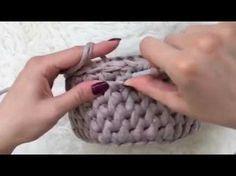 Корзинка из трикотажной пряжи крючком - YouTube