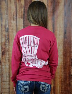 Boot scootin' boogie in this awesome new Tarleton State Univeristy long-sleeve t-shirt! You know you wanna look super cute in this tee! Go Texans!