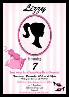 Barbie Inspired Sleepover Party Invitation  by GwynnWassonDesigns, $15.00