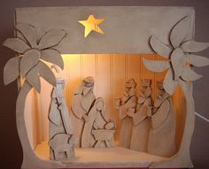 This is a tabletop nativity adapted from an outdoor nativity pattern. Christmas Nativity Set, Nativity Ornaments, Christmas Crafts To Make, Nativity Crafts, Christmas Wood, Christmas Projects, Christmas Holidays, Christmas Ornaments, Nativity Scenes