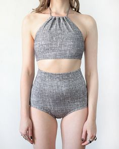 Grey Weave Two Piece  Bottoms by MinnowBathers on Etsy, $50.00