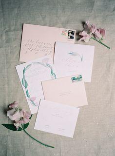 invitation suite, abany bauer, brown linen design, atlanta wedding  // Heather Payne Photography